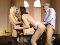 Mature brit cocksucking with babe in trio