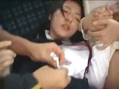 Far eastern mom and plus daughter are fucked on a public bus by crazed fella