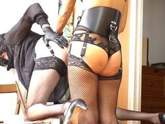 Crossdresser butt getting down and dirty with strapon