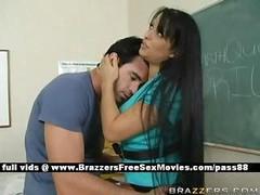 Busty brunette teacher at school going through an earthquake