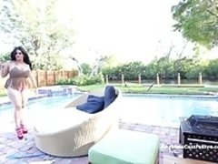 Big Titted Angelina Castro Blows the PoolGuy & Gets A Load!