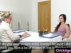 Euro casting babe pussylicked by lesbian