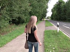 18yr old Skinny German Teen from Street get fucked Outdoor
