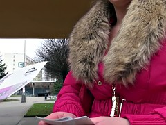 Hot Eurobabe drilled in public for money