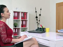 Blonde lesbian babe licking female agent in office