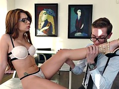 Spex babe footworshiped after bj