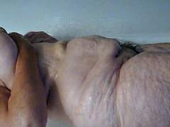 デカパイ, お婆さん, 毛深い, 熟年, シャワー