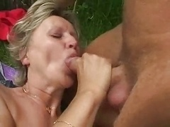 Amazing pair of saggy titties outdoors