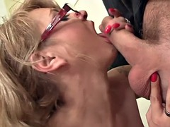 sexy old rides his cock in the office