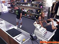 Ebony pawnee sucks pawnbroker in office