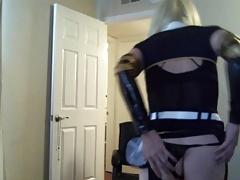 Sexy Tasha Blond Crossdresser Stewardess Uniform