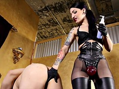 Slave ridden by Mistress with spurs