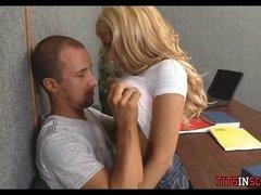 Slutty Blonde Teen Sucks Him Off during Class