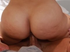 A sexy blonde with a nice round ass is getting her cunt rammed deeply