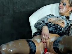 Sexy bukkake slut fucked by gloryhole