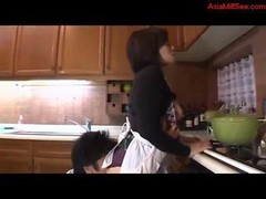 Sexually available mom Getting Her Cunt Licked Fingered Titties Rubbed In The Kitchen
