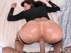 Lusty brunette MILF with a tasty ass gets fucked hard