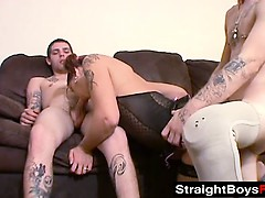 Horny slut bangs a cripple and two other horny dudes