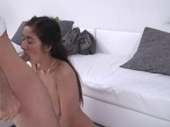 A young slut feels a cock giving her a tit fuck with a lot of cum