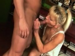 Blonde granny takes dong in hairy pussy after sucking