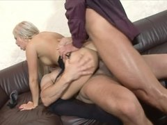 A blonde that enjoys anal sex is receiving a double penetration