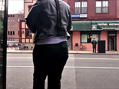 Nice fat candid ass at the bus stop