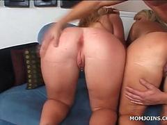Curvy mom and daughter nailed in threesome