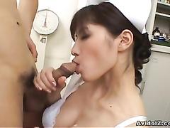 Naughty nurse riko tachibana ginormous fellatio with spunk guzzle
