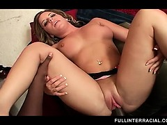 Sweet ass blonde black pounded from behind