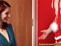 CFNM redhead wanks man in christmas mankini
