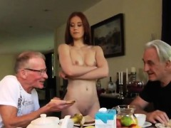 Old man hot babe Minnie Manga tongues breakfast with John an