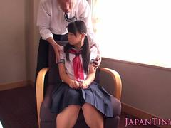 Petite Asian schoolgirl takes a huge dong in her mouth