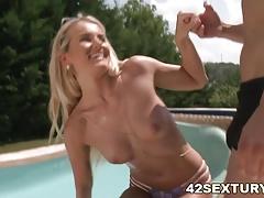 Amazing blonde Aisha on big dick