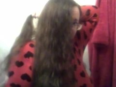 combing Long Curly Hair with a Wooden Comb