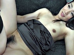 Hairy Japanese babe with small tits gets rammed hard