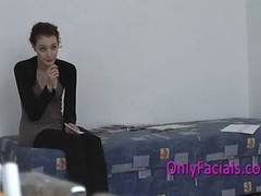 Number one facial during casting for very shy czech t
