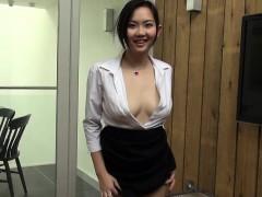 Japanese office lady masturbates