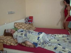 OldNanny old mom with teen threesome