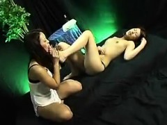 Asian lesbians in a three way of fingering and eating wet s