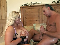 Horny BBW in her sexy underwear gets humped by older guy