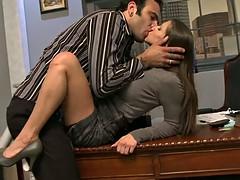 Busty secretary loves riding her boss's dick