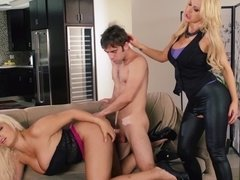 Two blonde perverts are getting some freaky things done in a threesome