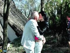 Hot Hungarian babe gets fucked outdoors