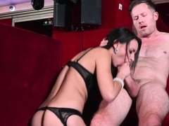 A bimbo that has kinky lingerie on is getting her pussy pounded deeply