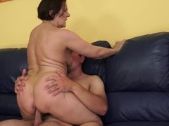 A fat old woman is getting her huge ass slapped while she is fucked