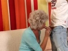 Granny in Glasses Has an intercourse the Boy