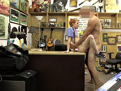 Skinny redhead babe banged by pawn dude