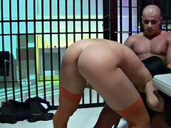 Masked dudes bang hot blonde and brunette whores in a cell