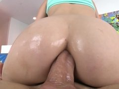 A brunette opens up her ass and when she does that she does anal
