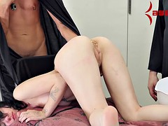 Goth girl eats a meal from her ass, then gets ass fucked